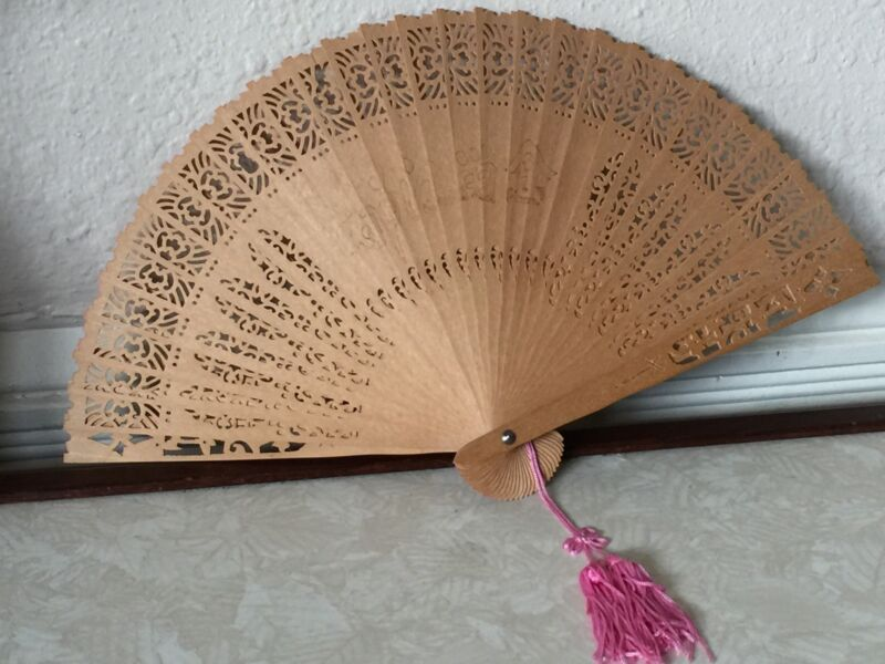 Rare Antique Chinese Hand Crafted Deep Carved Wood Brise Fan w Glass Case