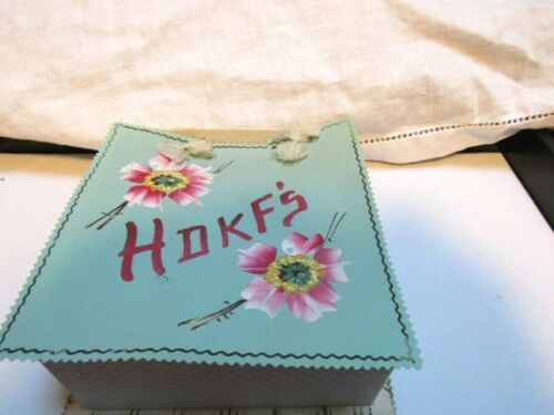 Antique Hand Painted Lid Handkerchief Hankies Storage Box Pretty!