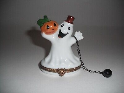 Peint Main Limoges Trinket- Halloween Ghost With Ball And Chain    (Limoges Halloween)