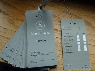 10 x Mercedes Ölzettel Wartungsanhänger Inspektionszettel Ölwechsel Service