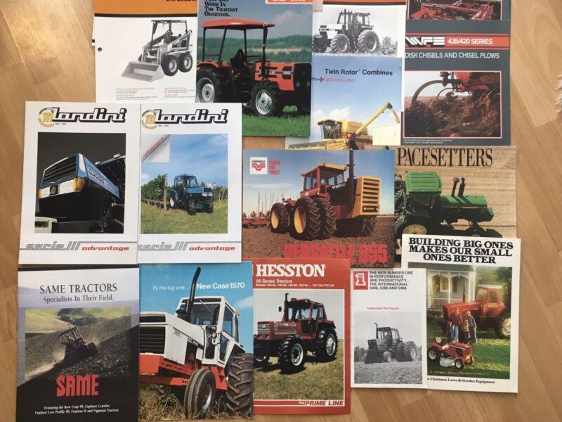 Group 24 vintage Allis JD White Case Versatile tractor Implement Brochures Good