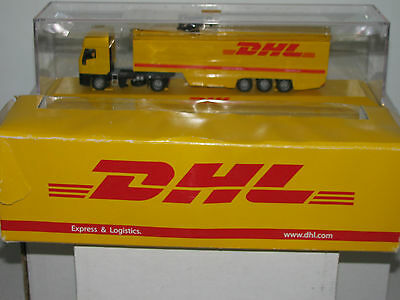 Dhl Express   Logistics Tractor   Trailer Set Die Cast 1 87 Scale