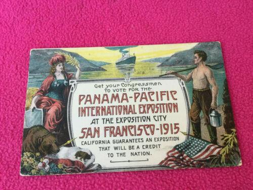vintage POSTCARD san francisco PANAMA-PACIFIC exposition WORLD FAIR vote for