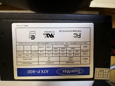 Supermax 400 Watt ATX PC Computer Desktop Power Supply SATA 20 24 NEW (Black)