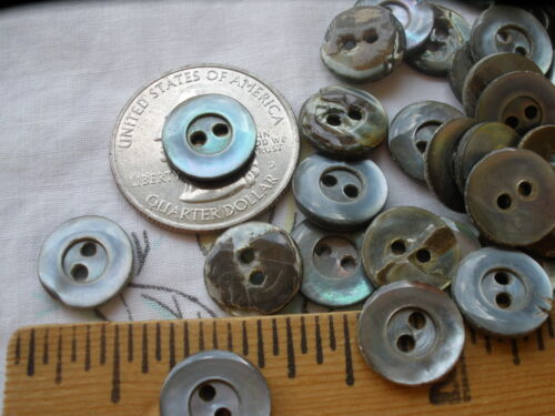 """Vintage Carved MOP buttons blue-gray smoke real shell 18L 7/16"""" 11mm 48pcs 2H"""