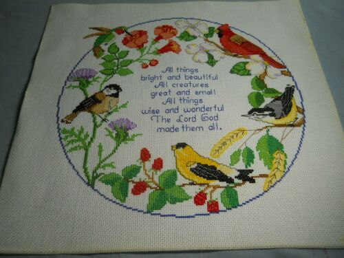 Religious Circle Of Songbird Counted Cross Stitch Completed Finished Canvas