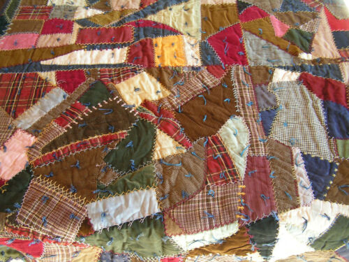 Antique Crazy Patwork Quilt Embroidery Silk Velvet Wool Lace Edge 72 x 80