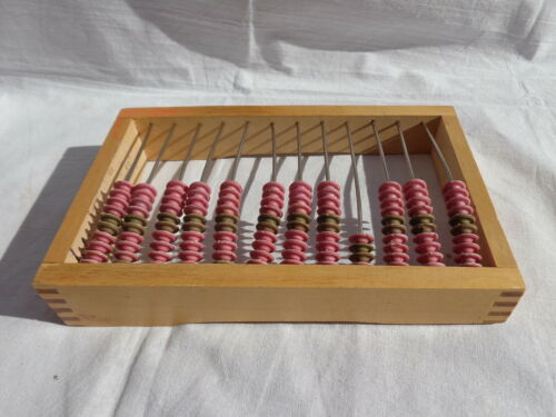 Vtg Russian Counting Frame Wood Abacus Pink Beads Soviet Shop Clerk Signed USSR