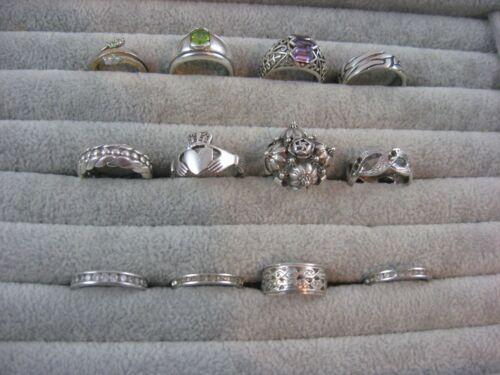 Lot of 12 Vintage Sterling Silver rings assorted - some with stones -bands etc