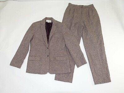 Evan Picone Women's Blazer Pant Suit Size 12 Jacket / 10 Pants Brown Wool Blend