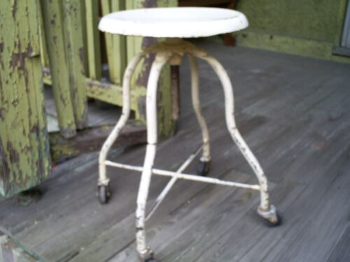 Antique Vintage Industrial Factory Metal & Cast Iron Stool Machine Age Chair