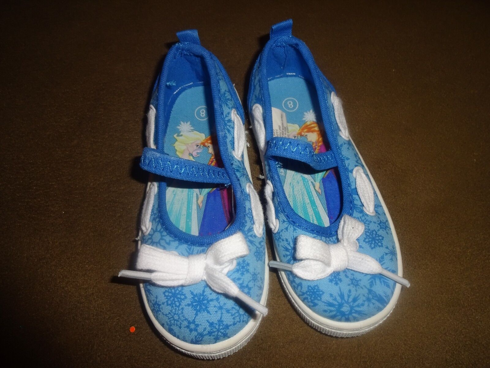 Disney Frozen Toddler Baby Girl White Blue Canvas Shoes Elsa