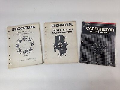 HONDA CARBURETOR PARTS CATALOG W/MOTORCYCLE CARBURETION AND SERVICE MANUAL