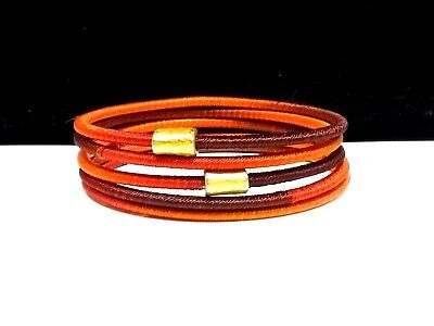 Orange & Brown Silk wrapped Bangle Bracelets