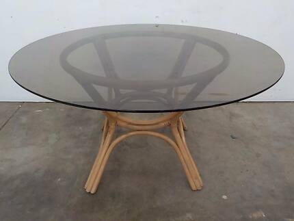 B28031 Lovely Vintage RETRO Cane Smoked Glass Round Dining Table Unley Unley Area Preview