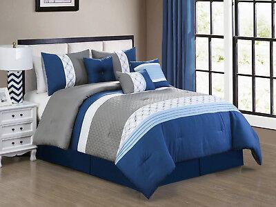(7-Pc Llyr Clamshell Embossed Circle Star Comforter Set Blue Gray White King)