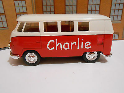 PERSONALISED NAME BOYS TOY GIFT VW CREW BUS CAMPER VAN Model Toy Car NEW & BOXED