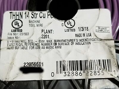 Southwire 14awg Stranded Thhnthwn-2mtw Building Wire Cable Purple 100ft