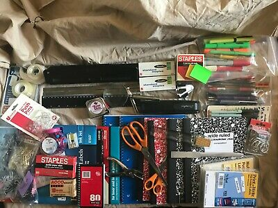 Office Supplies Lot - Swingline Stapler 3 Hole Pens Markers Notebooks Many