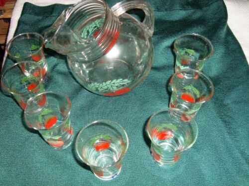 Vintage 40-50s - Tilted Pitcher & Glass Tomato Juice Set (8 pcs.)