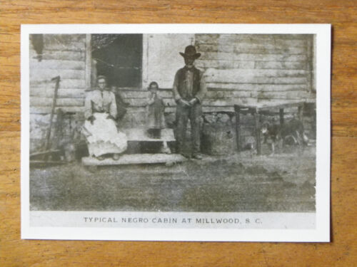 """3 1/2"""" x 5"""" Vintage Photo-Cabin & Black Family at Millwood, S.C."""