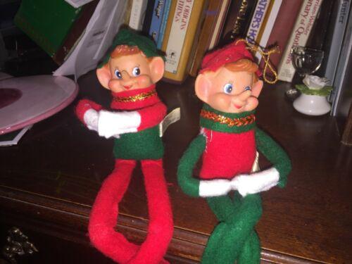 """2 Vintage Wangs Christmas Elf Elves Felt  Green Red Santa Knee Hugger 13"""" rubber"""