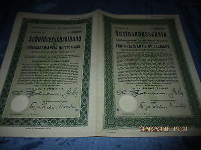 657 : Wertpapier / Antik , Schuldverschreibung , ROSTOCK , November 1927 ,  3217