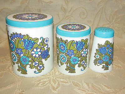 Set Of 3 Vintage Containers / Tins Including Salt