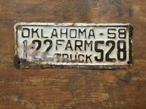 VINTAGE 1958 OKLAHOMA FARM TRUCK LICENSE PLATE
