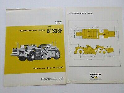 Rare Wabco Bt333f Tractor -elevating Scraper Sales Brochure 1968