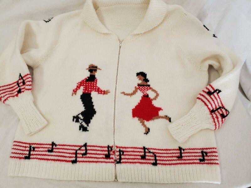 Mary Maxim Hand Knit VTG 50s 60s Swing Square Dance Sweater Cardigan BoHo Music