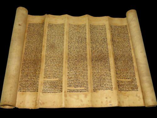 TORAH SCROLL BIBLE MANUSCRIPT VELLUM FRAGMENT 200 YRS OLD FROM SYRIA Very rare