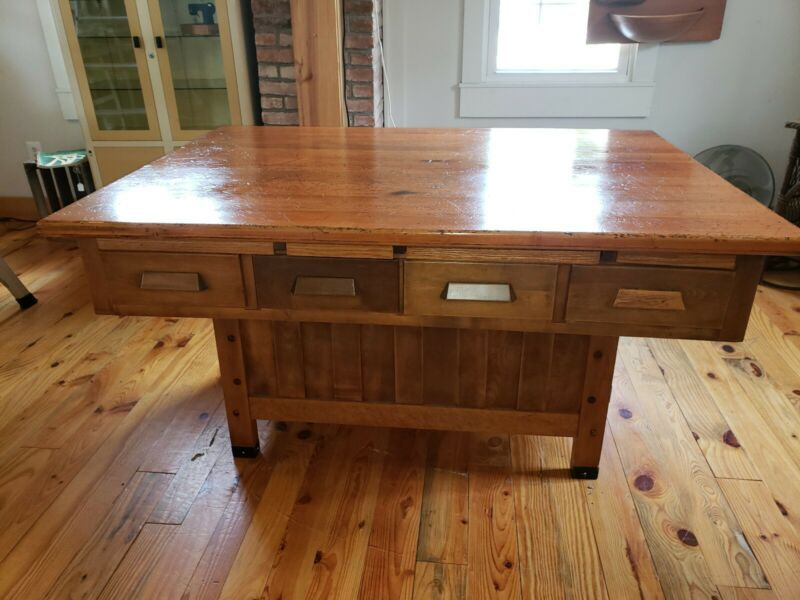 Vintage Antique Industrial School Work Table Workbench Kitchen Island