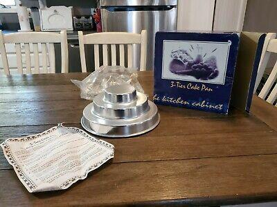 "NIB 3 Tier Round Cake Pan Mold Baking Layer 10.5"" Jello Ice Cheese Tin RARE VTG"