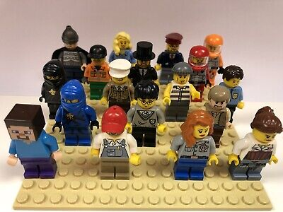 10 X Lego Minifigures / Figures with Hats or Hair Now With 10 Free Accessories