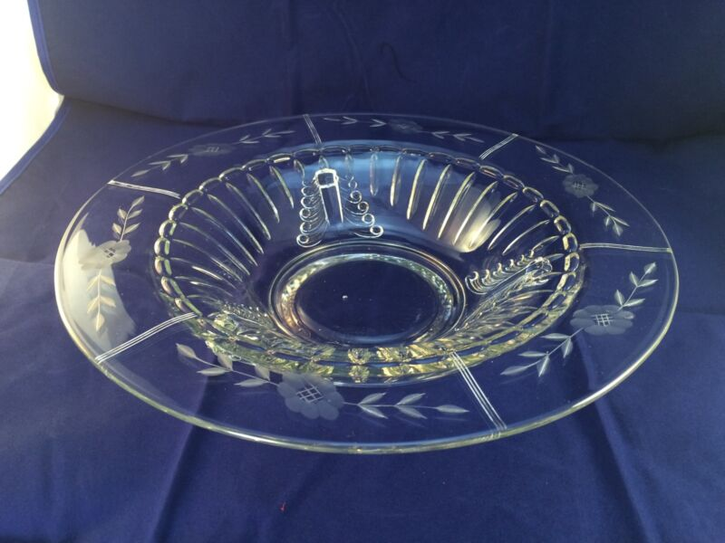 Elegant Glass Paden City NERVA Crystal Console Bowl Floral Cut Rim 12.5""