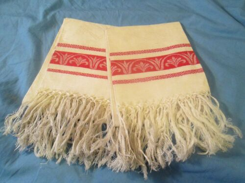 Pair Linen Damask Show Towels Turkey Red Decor 31x18 + SELF FRINGE UNUSED