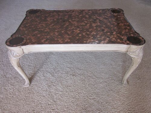VINTAGE   SQUARE  PENNY   COFFEE   TABLE