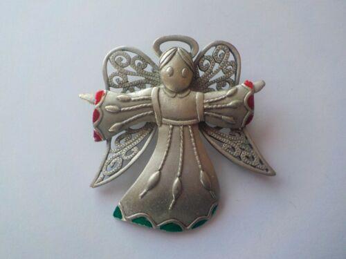 Vintage Signed JJ Angel Enamel Pewter Christmas Brooch Pin