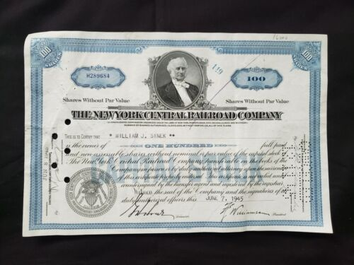 VINTAGE STOCK certificate The New York Central Railroad Company 1945