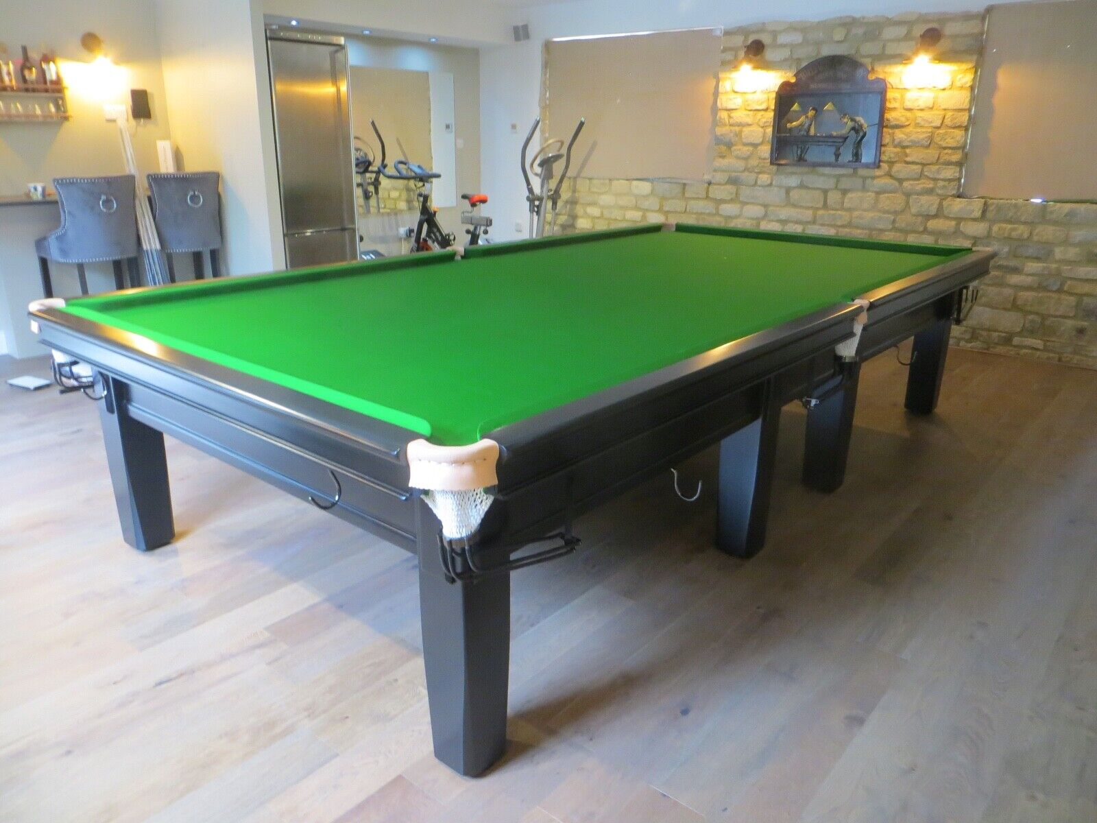 Burroughes and Watts Full Size Black Snooker Table with Steel Block Cushions