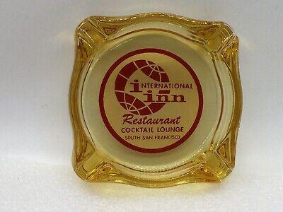 Vintage Yellow Glass Advertising Ashtray - International Inn, S. San Francisco