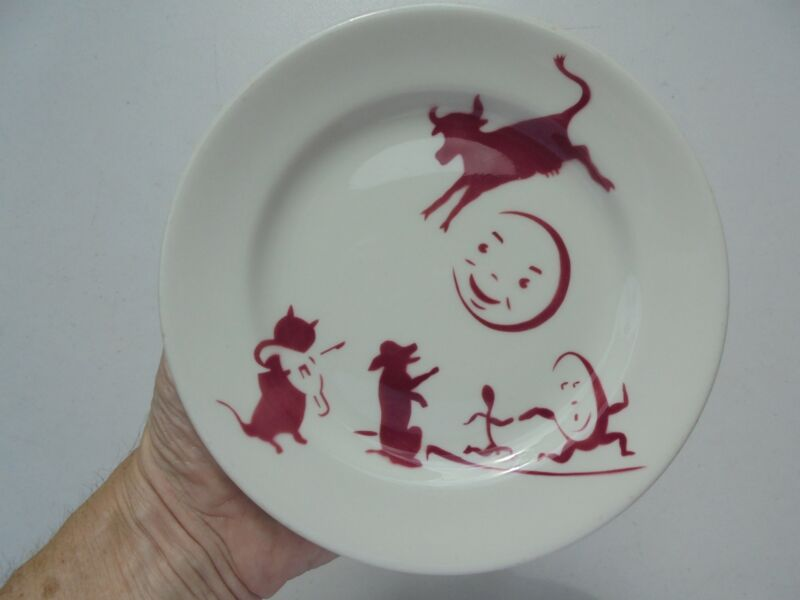 Antique Vintage Sterling China Ohio Nursery Rhyme Childs Plate Hey Diddle Diddle