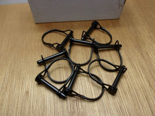 (Qty.8) PTO Hitch Coupler Wire Snap Safety Lock Quick Bail Pin 1/4 X 1-1/2 Black