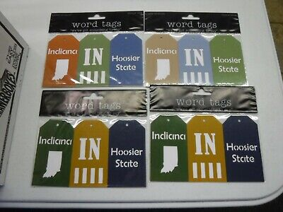 DELUXE DESIGNS INDIANA STATE WORD TAGS 4 PC DIE CUT EMBELLISHMENT A20609 Die Cut Deluxe Designs