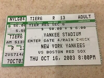 2003 ALCS Game 7 Ticket Stub 2003 Alcs Game 7