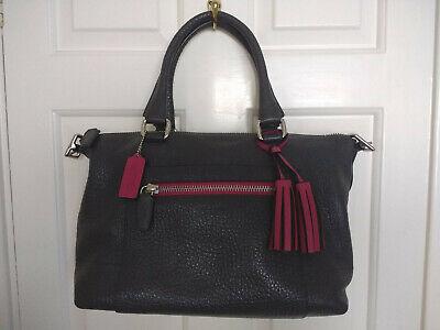 COACH Legacy Textured Genuine Leather Molly Satchel Handbag, Grey & Pink
