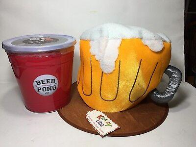 Ultimate Beer Pong Set & Oversize Frosty Beer Mug Adult Hat Halloween - Beer Pong Costumes Halloween