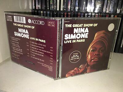 NINA SIMONE THE GREAT SHOW OF LIVE IN PARIS RARE CD 1988 MADE IN FRANCE (Nina Simone The Great Show Live In Paris)