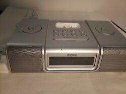 iHome Silver Ipod Speaker Dock Dual Alarm Clock Radio